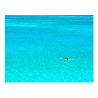 Outrigger canoe in Bora Bora postcard