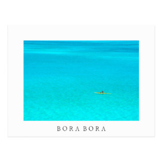 Outrigger canoe in Bora Bora white text postcard