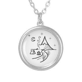 outside friends series silver plated necklace