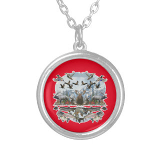 Outside life silver plated necklace