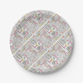 Outside The Box-Abstract Geometric Doodle 7 Inch Paper Plate