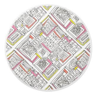 Outside The Box-Abstract Geometric Doodle Ceramic Knob