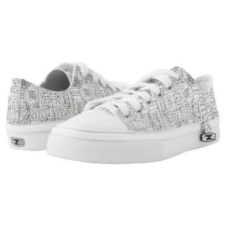 Outside The Box-Abstract Geometric Doodle Low Tops