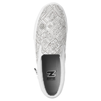 Outside The Box-Abstract Geometric Doodle Slip On Shoes