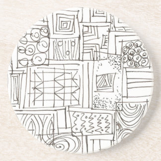 Outside The Box-Black and White Abstract Doodle Coaster