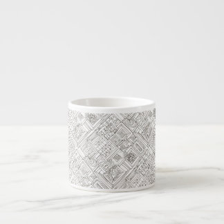 Outside The Box-Black and White Abstract Doodle Espresso Cup