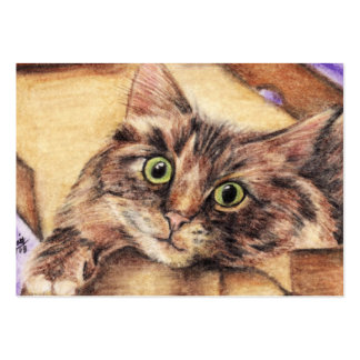 Outside the Box (Cat) ACEO Art Trading Cards Business Card Template