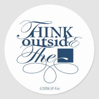 Outside the Box Navy Logo Round Stickers