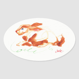 Oval Bunny Stickers, Glossy Oval Sticker