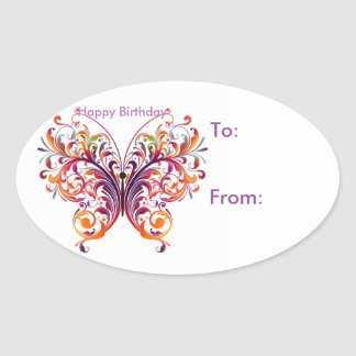 Oval Butterfly Birthday Gift Tag Stickers