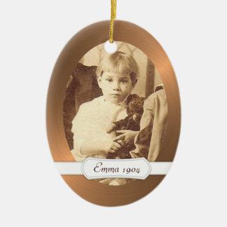 Oval Ceramic Ornament Copper Border w/ Your Photo