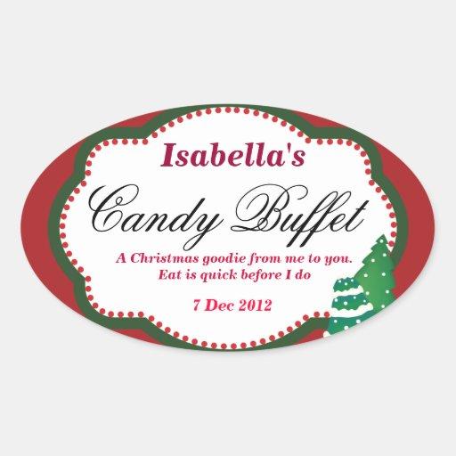 Oval Christmas tree Candy Buffet Sticker