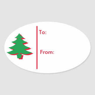 Oval Christmas tree Gift Tag Sticker-Red & Green