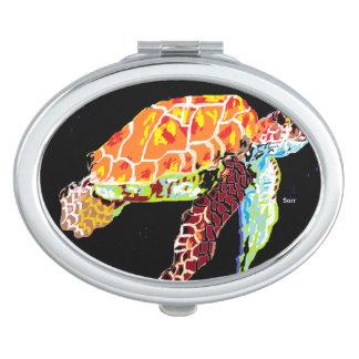 Oval Compact Mirror Sea Turtle