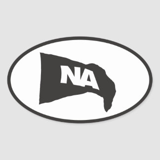 Oval Decal: Black flag with white NA (Never Again) Oval Sticker
