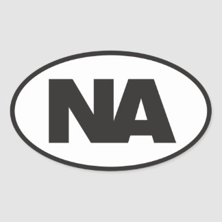 Oval Decal: Black NA (Never Again) logo on white Oval Sticker