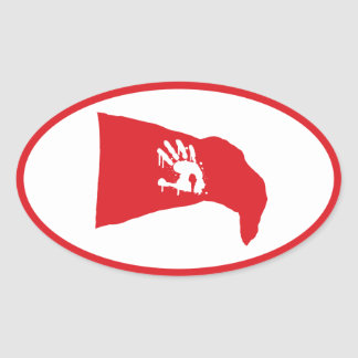 Oval Decal: Red flag with white hand print logo Oval Sticker