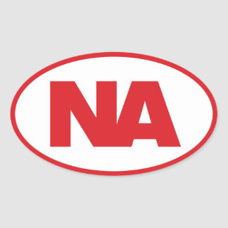 Oval Decal: Red NA (Never Again) logo on white Oval Sticker