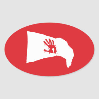 Oval Decal: white flag with red hand print logo Oval Sticker