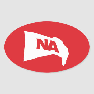 Oval Decal: White flag with red NA (Never Again) Oval Sticker