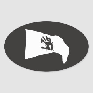 Oval Decal: white flag with white hand print logo Oval Sticker