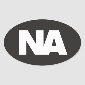 Oval Decal: White NA (Never Again) logo on black Oval Sticker
