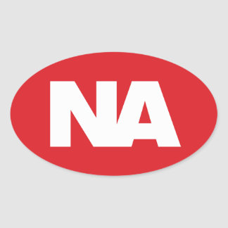 Oval Decal: White NA (Never Again) logo on red Oval Sticker