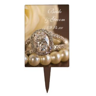 Oval Diamond Ring and White Rose Wedding Cake Picks