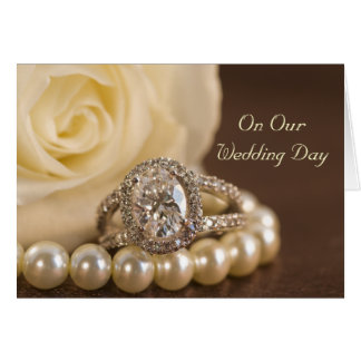 Oval Diamond Ring and White Rose Wedding Day Card