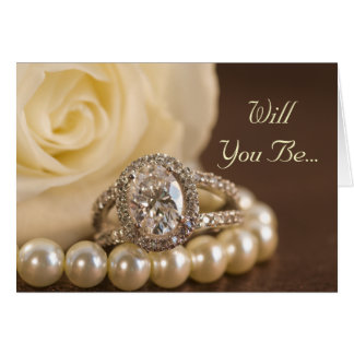 Oval Diamond Ring Rose Will You Be My Bridesmaid Card