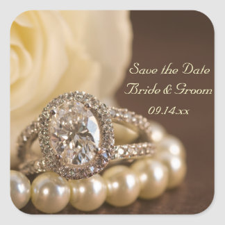 Oval Diamond Ring Wedding Save the Date Square Sticker