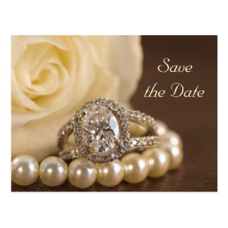 Oval Diamond Ring White Rose Wedding Save the Date Postcard