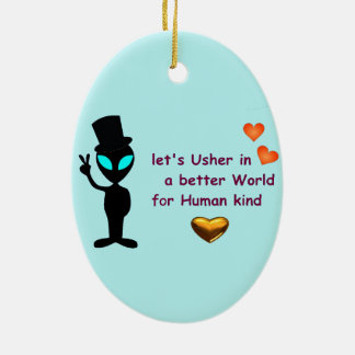 Oval Hanging Ornament- Alien Peace Call Ceramic Ornament