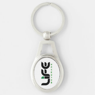 Oval Life Beverage Metal Keychain