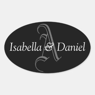 Oval Monogram A Wedding Favor Seal Stickers Black