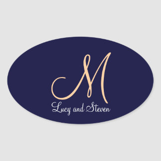 Oval Monogram Wedding Stickers