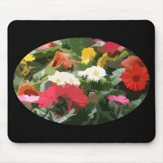 Oval of Colourful Aster Flowers Abstract Art Mouse Pad