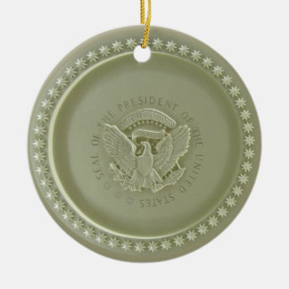 Oval Office Ceiling, Presidential USA Seal Ornamen Double-Sided Ceramic Round Christmas Ornament