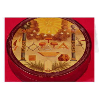 Oval painted box, with symbols of Freemasonry Card