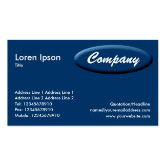 Oval Panel - Blue Pack Of Standard Business Cards