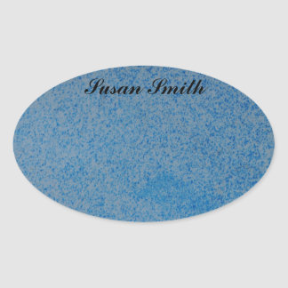 Oval photo sticker with name - random blue splotch