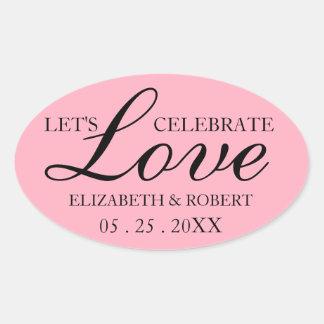 Oval Pink Wedding Sticker Bridal Invitation