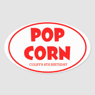 Oval Popcorn Personalized Stickers