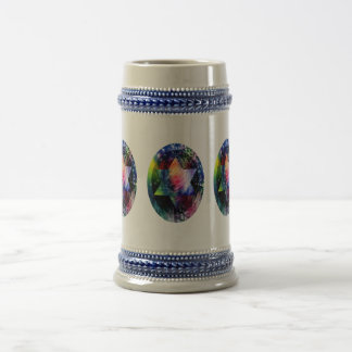 Oval Rainbow Star of David Beer Stein