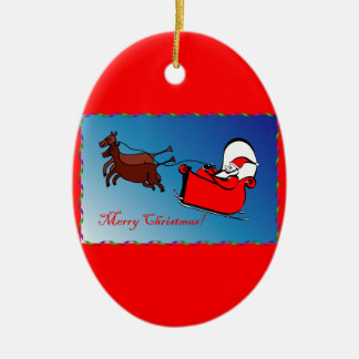 Oval-shaped Ornament Santa in his Sleigh