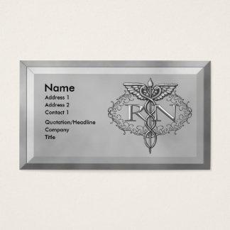 Oval Silver RN Nurse Business Card
