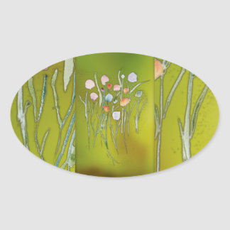 oval stickers, glossy with flowers oval sticker