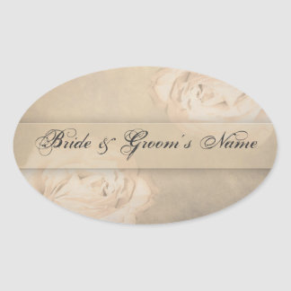 Oval Stickers - Vintage Rose