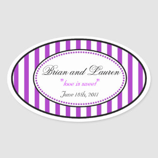 Oval Stripe Wedding Stickers