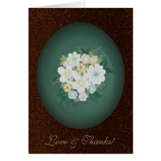 Oval Watercolor Floral Textured Thank You Card